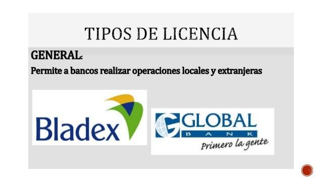 Sistema bancario paname o for Tipos de licencias para bares
