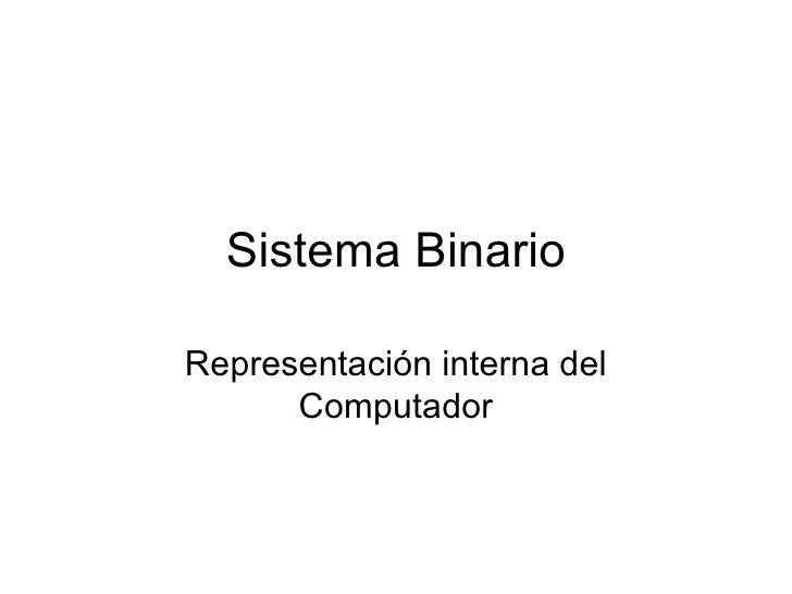 Sistema Binario Representación interna del Computador