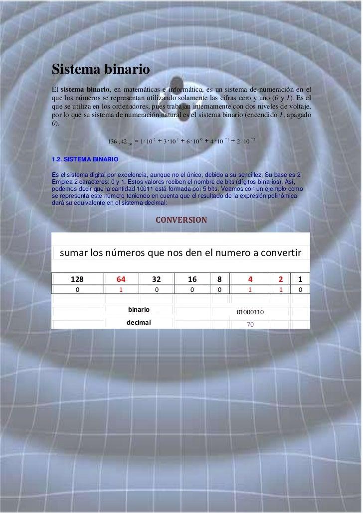 Sistema binario El sistema binario, en matemáticas e informática, es un sistema de numeración en el que los números se rep...