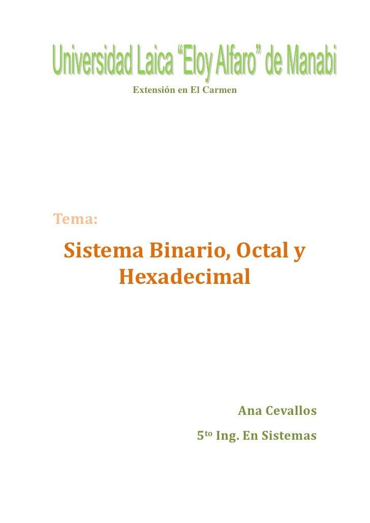 Extensión en El Carmen     Tema:   Sistema Binario, Octal y       Hexadecimal                                      Ana Cev...