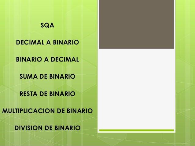 SQA   DECIMAL A BINARIO   BINARIO A DECIMAL    SUMA DE BINARIO    RESTA DE BINARIOMULTIPLICACION DE BINARIO   DIVISION DE ...