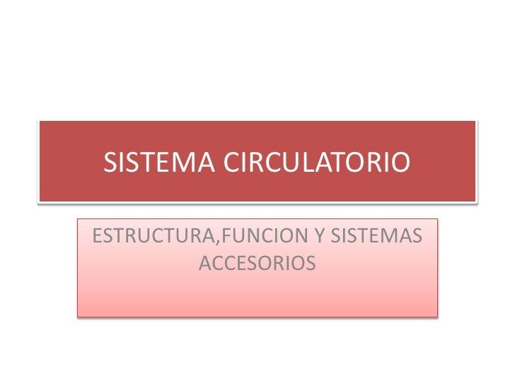 SISTEMA CIRCULATORIOESTRUCTURA,FUNCION Y SISTEMAS         ACCESORIOS