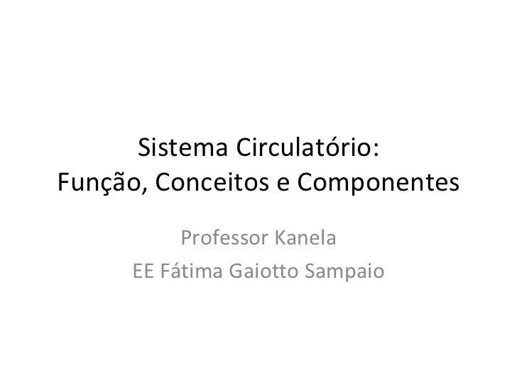 Sistema Circulatório: Função, Conceitos e Componentes Professor Kanela EE Fátima Gaiotto Sampaio