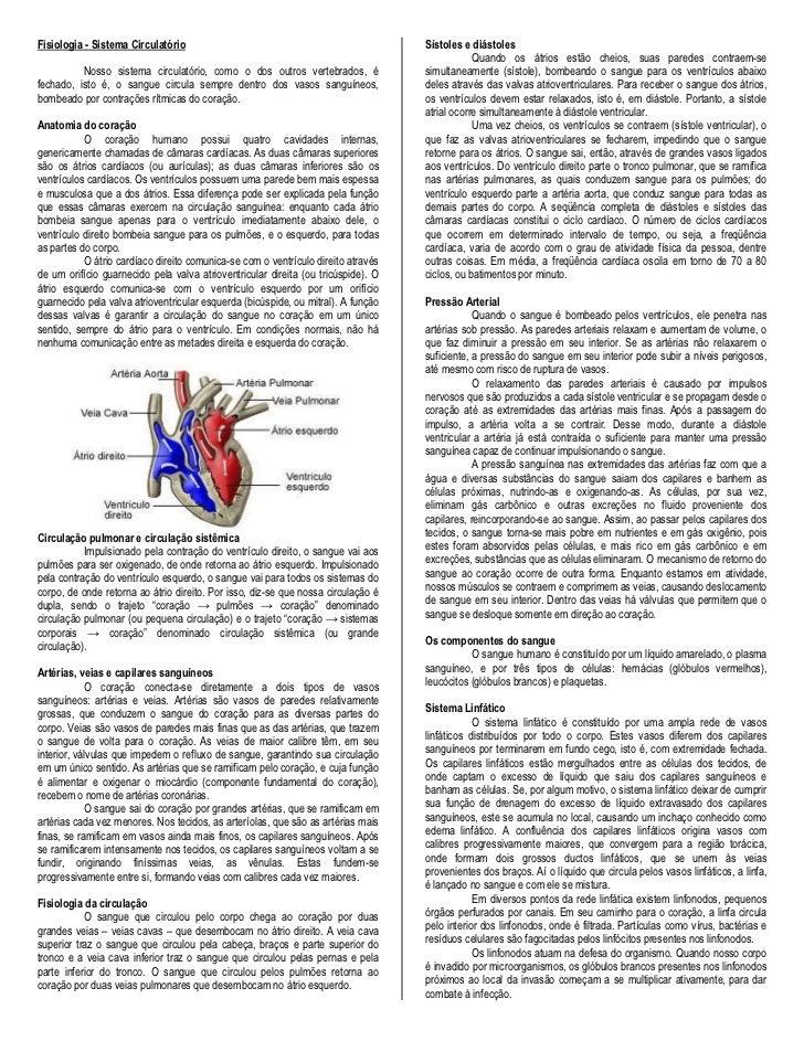 Fisiologia - Sistema Circulatório                                                  Sístoles e diástoles                   ...