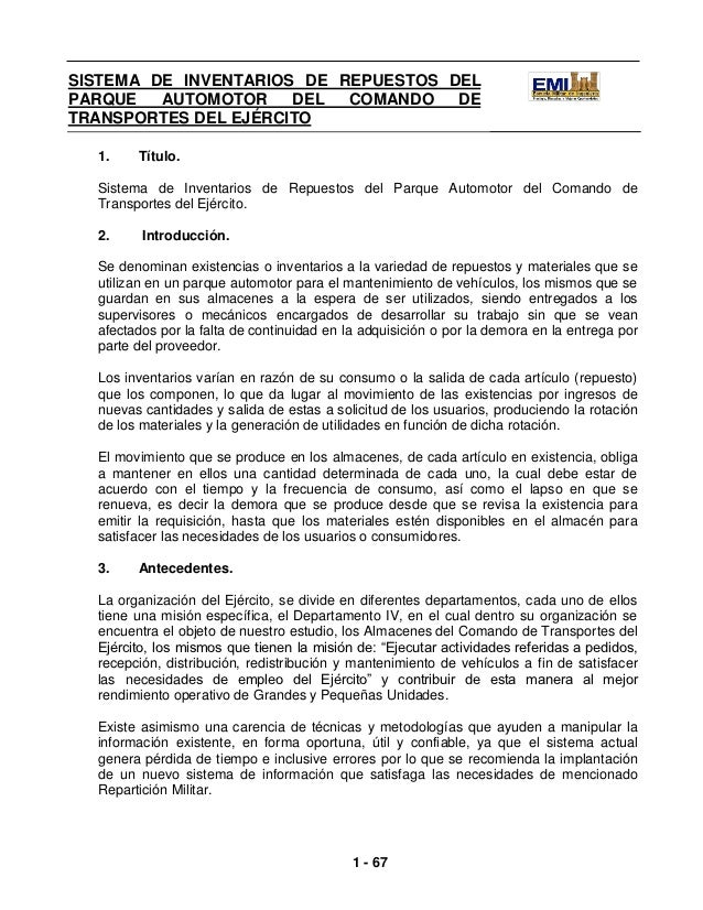 SISTEMA DE INVENTARIOS DE REPUESTOS DELPARQUE    AUTOMOTOR             DEL COMANDO DE       ANÁLISIS DE SISTEMAS I ITRANSP...