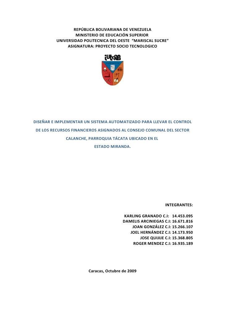 REPÚBLICA BOLIVARIANA DE VENEZUELA                   MINISTERIO DE EDUCACIÓN SUPERIOR          UNIVERSIDAD POLITECNICA DEL...