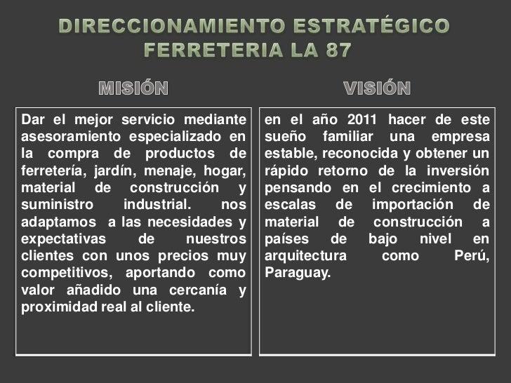 DIRECCIONAMIENTO ESTRATÉGICO<br />FERRETERIA LA 87<br />MISIÓN <br />VISIÓN <br />