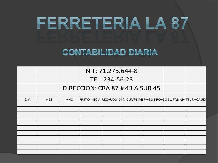FERRETERIA LA 87<br />CONTABILIDAD DIARIA<br />
