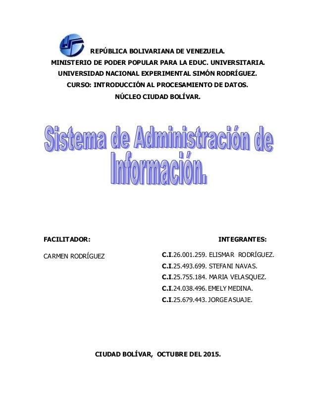 REPÚBLICA BOLIVARIANA DE VENEZUELA. MINISTERIO DE PODER POPULAR PARA LA EDUC. UNIVERSITARIA. UNIVERSIDAD NACIONAL EXPERIME...