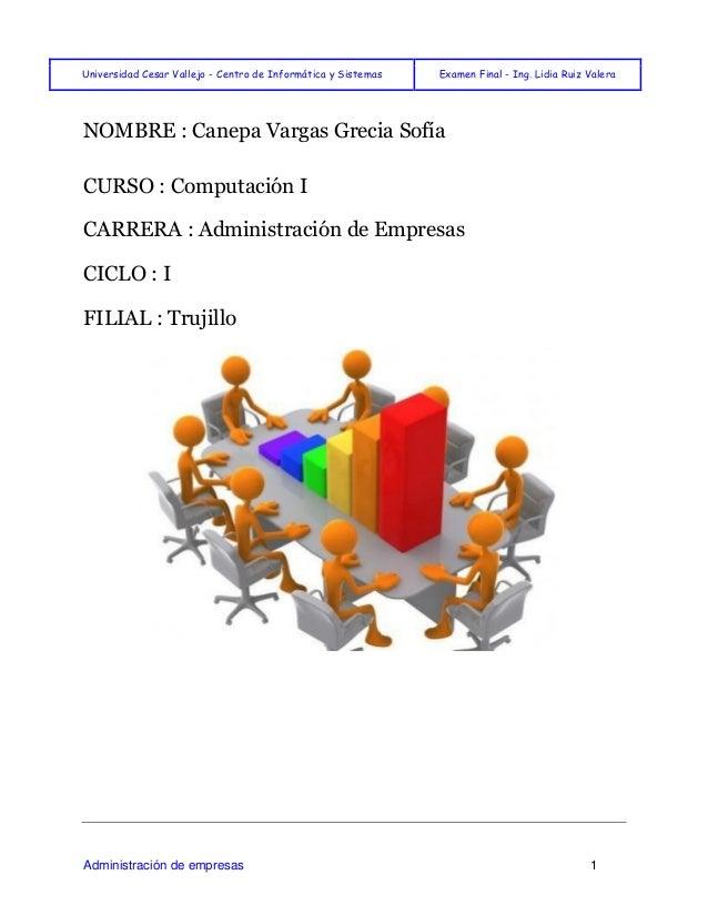 Universidad Cesar Vallejo - Centro de Informática y Sistemas Examen Final - Ing. Lidia Ruiz Valera  Administración de empr...