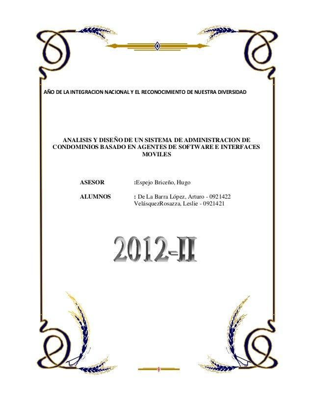 AÑO DE LA INTEGRACION NACIONAL Y EL RECONOCIMIENTO DE NUESTRA DIVERSIDADANALISIS Y DISEÑO DE UN SISTEMA DE ADMINISTRACION ...