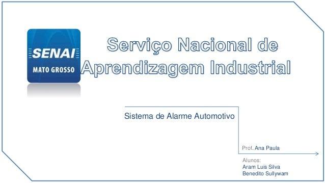 apresenta Novidade destinada à A clientes de veículos automotivos Alunos : Aram Luis Benedito Sullywam Sistema de Alarme A...