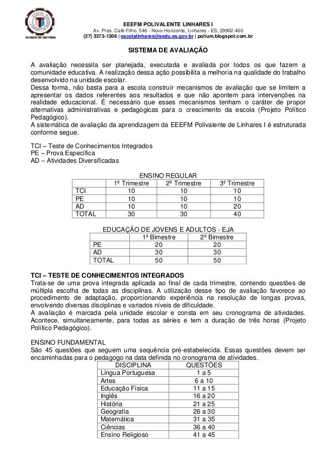 EEEFM POLIVALENTE LINHARES I Av. Pres. Café Filho, 546 - Novo Horizonte, Linhares - ES, 29902-400 (27) 3373-1306   escolal...