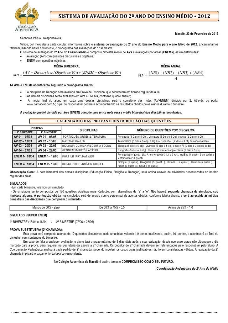 SISTEMA DE AVALIAÇÃO DO 2º ANO DO ENSINO MÉDIO • 2012                                                                     ...
