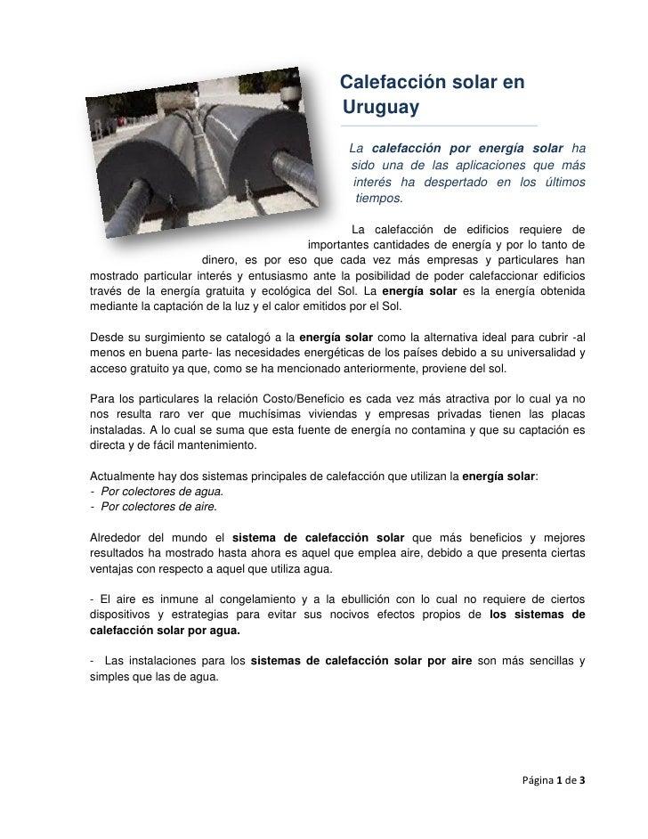 Sistema de calefacci n solar por aire uruguay - Calefaccion por aire ...