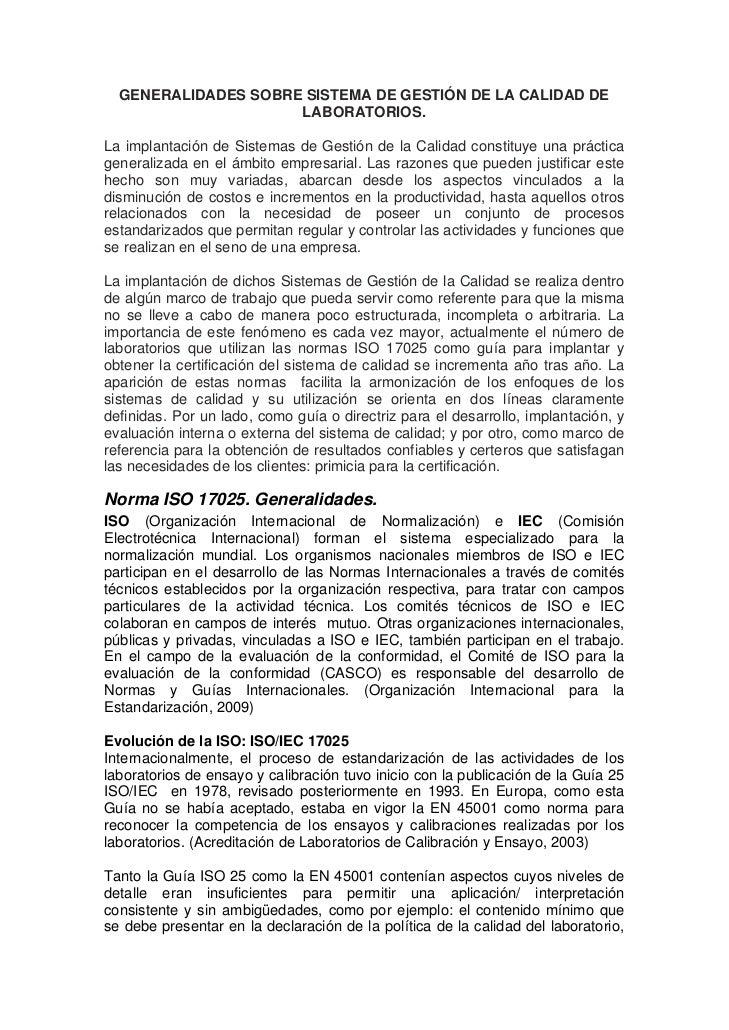 GENERALIDADES SOBRE SISTEMA DE GESTIÓN DE LA CALIDAD DE                     LABORATORIOS.La implantación de Sistemas de Ge...