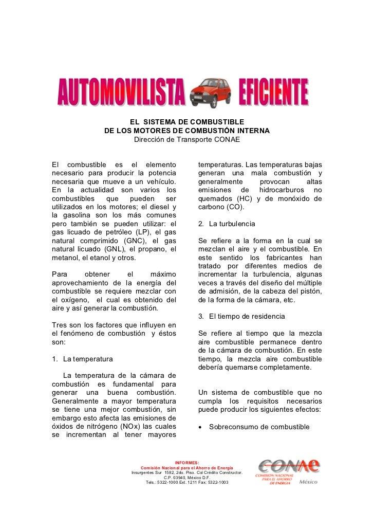 EL SISTEMA DE COMBUSTIBLE                DE LOS MOTORES DE COMBUSTIÓN INTERNA                       Dirección de Transport...