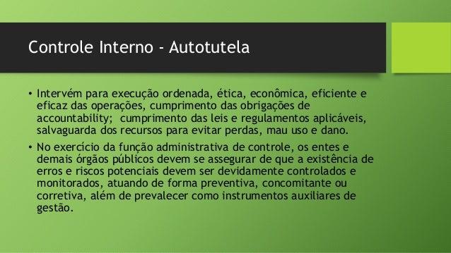 Controle Interno - Autotutela • Intervém para execução ordenada, ética, econômica, eficiente e eficaz das operações, cumpr...