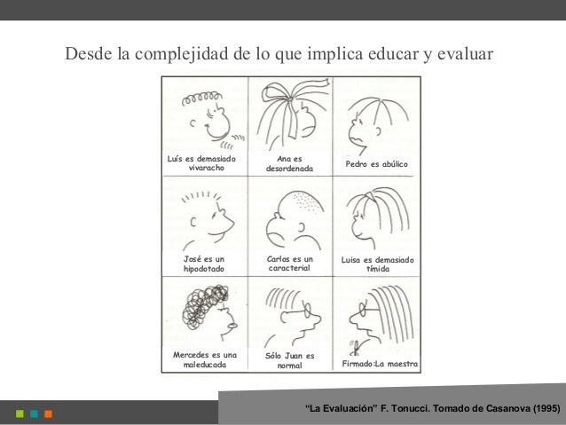 """Desde la complejidad de lo que implica educar y evaluar """"La Evaluación"""" F. Tonucci. Tomado de Casanova (1995) Luís es dema..."""