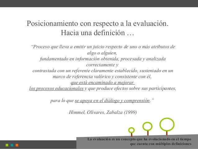 """Posicionamiento con respecto a la evaluación. Hacia una definición … """"Proceso que lleva a emitir un juicio respecto de uno..."""