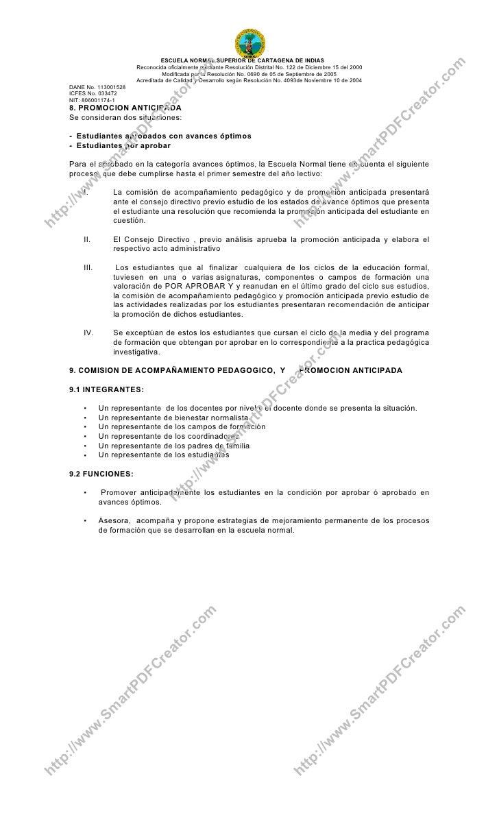 Sistema De Evaluacion En La Escuela Normal Superior De Cartagena De I…