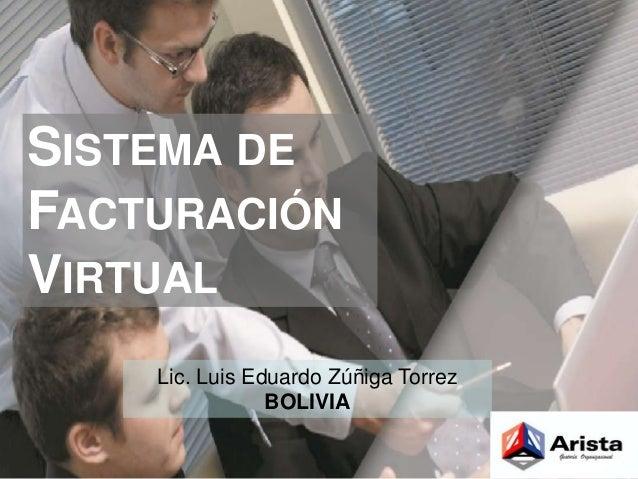 SISTEMA DE  FACTURACIÓN  VIRTUAL  Lic. Luis Eduardo Zúñiga Torrez  BOLIVIA