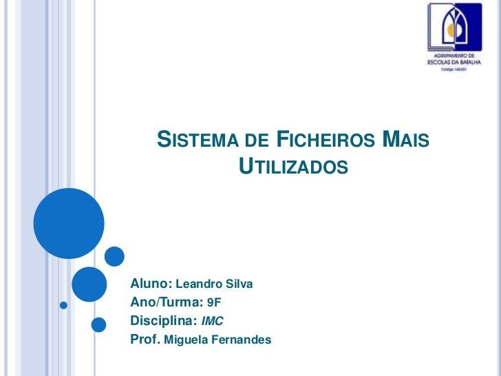 SISTEMA DE FICHEIROS MAIS           UTILIZADOSAluno: Leandro SilvaAno/Turma: 9FDisciplina: IMCProf. Miguela Fernandes