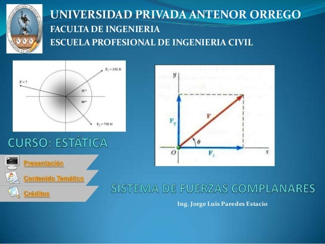 Contenido TemáticoCréditosPresentaciónIng. Jorge Luis Paredes EstacioUNIVERSIDAD PRIVADA ANTENOR ORREGOFACULTA DE INGENIER...