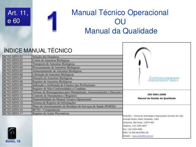 Art. 11,           Manual Técnico Operacional e 60                          OU                       Manual da QualidadeÍN...