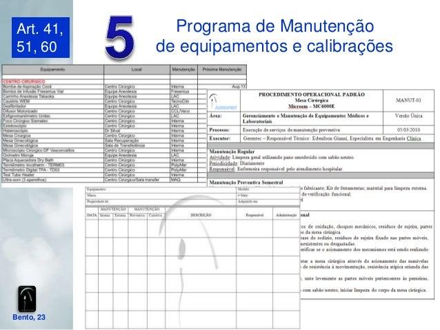 Art. 41,     Programa de Manutenção 51, 60     de equipamentos e calibraçõesBento, 23