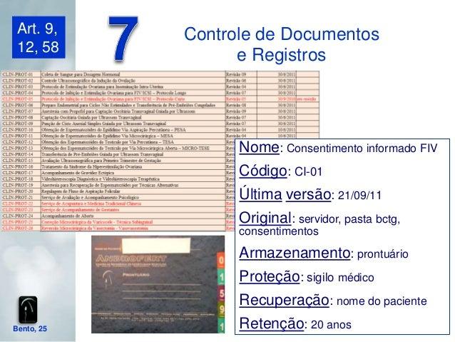 Art. 9,    Controle de Documentos 12, 58                  e Registros                  Nome: Consentimento informado FIV  ...
