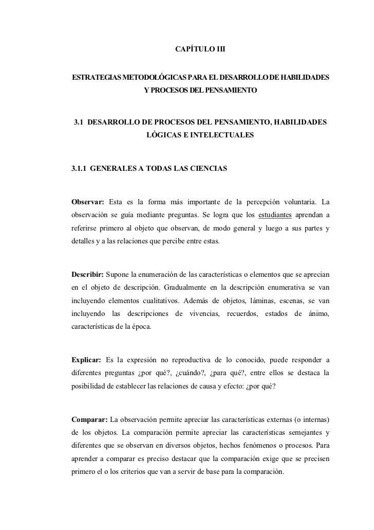 CAPÍTULO IIIESTRATEGIAS METODOLÓGICAS PARA EL DESARROLLO DE HABILIDADES                         Y PROCESOS DEL PENSAMIENTO...