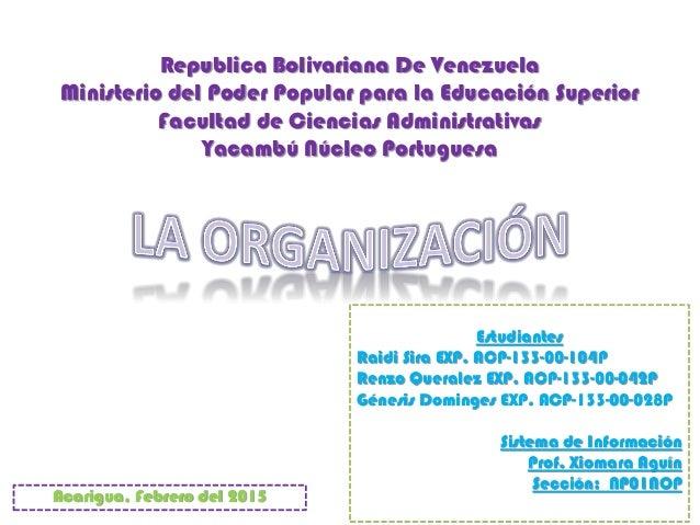 Republica Bolivariana De Venezuela Ministerio del Poder Popular para la Educación Superior Facultad de Ciencias Administra...