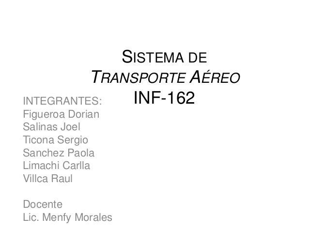 SISTEMA DE          TRANSPORTE AÉREOINTEGRANTES:   INF-162Figueroa DorianSalinas JoelTicona SergioSanchez PaolaLimachi Car...