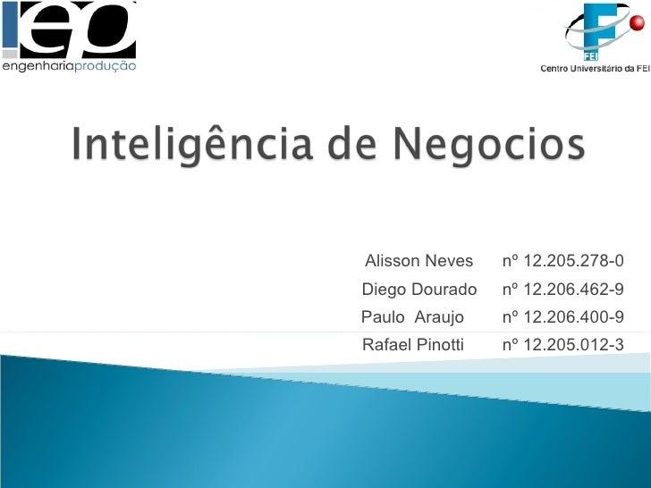 Alisson Neves  nº 12.205.278-0 Diego Dourado  nº 12.206.462-9 Paulo  Araujo  nº 12.206.400-9 Rafael Pinotti  nº 12.205.012-3