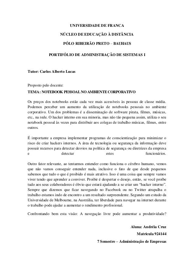 UNIVERSIDADE DE FRANCA                    NÚCLEO DE EDUCAÇÃO À DISTÂNCIA                      PÓLO RIBEIRÃO PRETO – BAUHAU...
