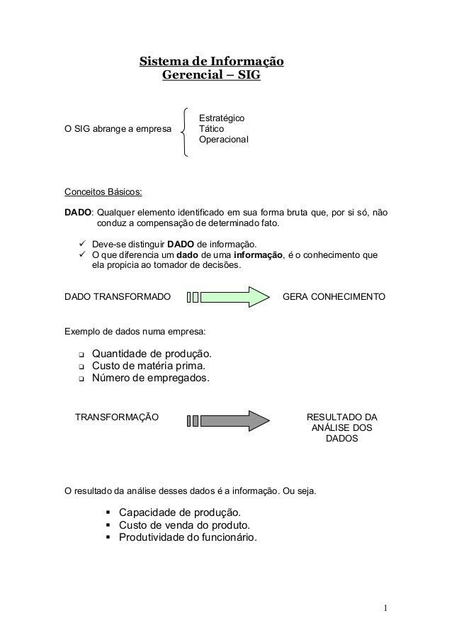 Sistema de Informação Gerencial – SIG  O SIG abrange a empresa  Estratégico Tático Operacional  Conceitos Básicos: DADO: Q...