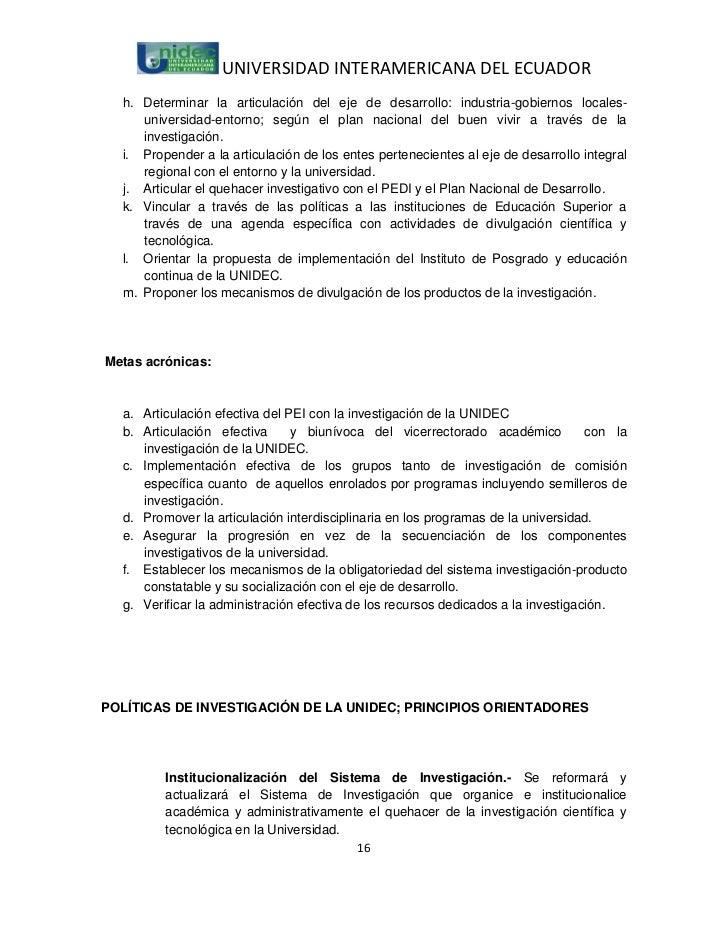 UNIVERSIDAD INTERAMERICANA DEL ECUADOR  h. Determinar la articulación del eje de desarrollo: industria-gobiernos locales- ...