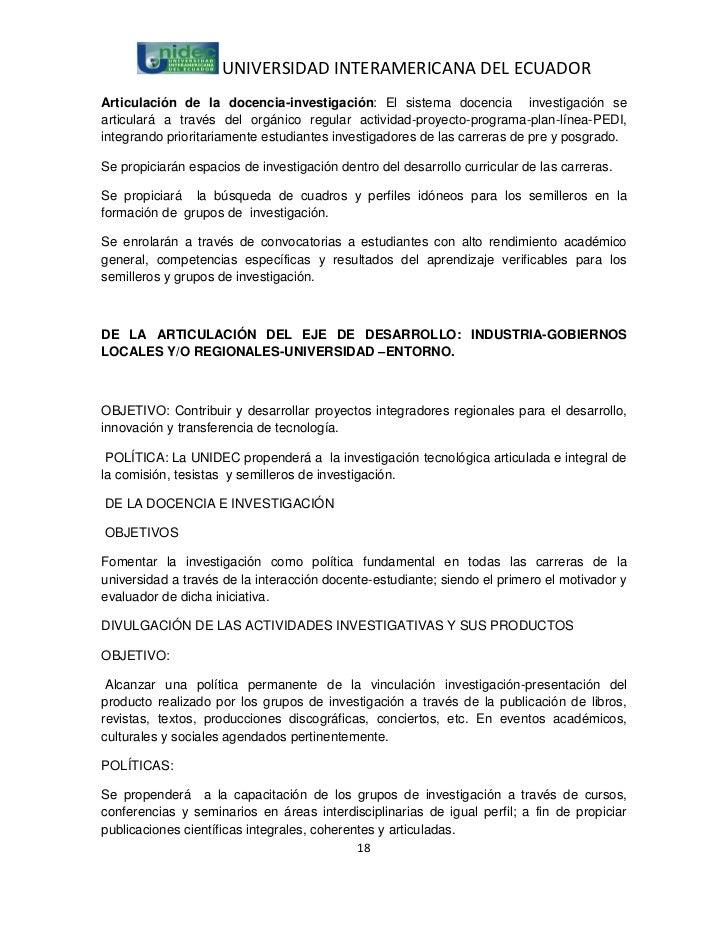 UNIVERSIDAD INTERAMERICANA DEL ECUADORArticulación de la docencia-investigación: El sistema docencia investigación seartic...