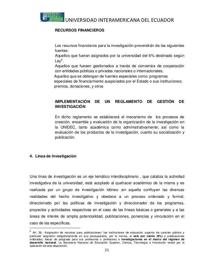 UNIVERSIDAD INTERAMERICANA DEL ECUADOR                  RECURSOS FINANCIEROS                  Los recursos financieros par...