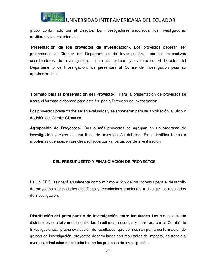 UNIVERSIDAD INTERAMERICANA DEL ECUADORgrupo conformado por el Director, los investigadores asociados, los investigadoresau...