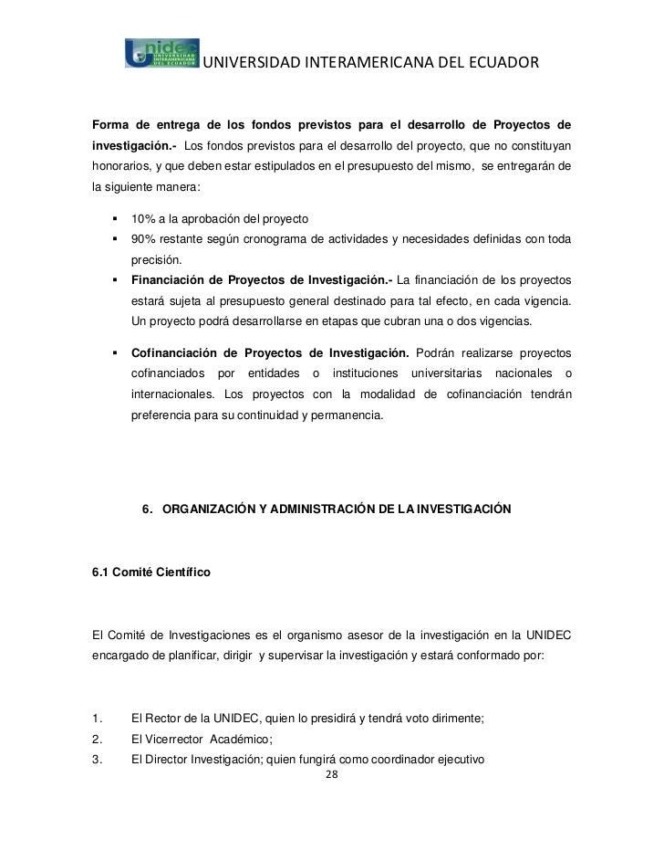 UNIVERSIDAD INTERAMERICANA DEL ECUADORForma de entrega de los fondos previstos para el desarrollo de Proyectos deinvestiga...