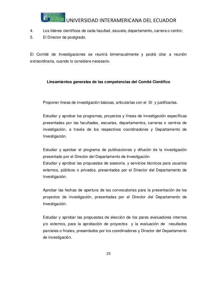 UNIVERSIDAD INTERAMERICANA DEL ECUADOR4.     Los líderes científicos de cada facultad, escuela, departamento, carrera o ce...