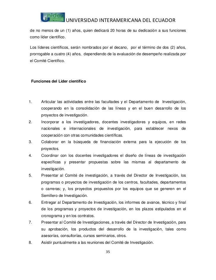 UNIVERSIDAD INTERAMERICANA DEL ECUADORde no menos de un (1) años, quien dedicará 20 horas de su dedicación a sus funciones...
