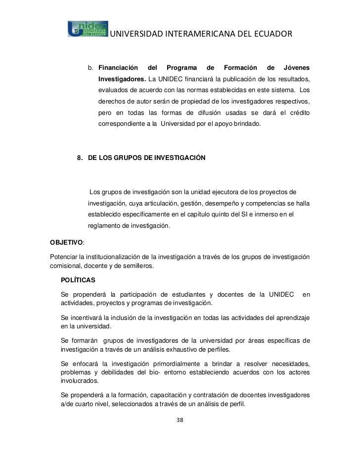 UNIVERSIDAD INTERAMERICANA DEL ECUADOR             b. Financiación      del    Programa       de    Formación      de    J...