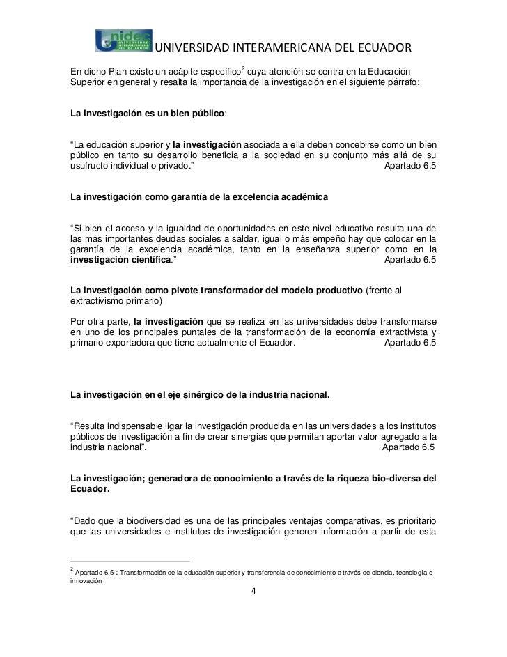 UNIVERSIDAD INTERAMERICANA DEL ECUADOREn dicho Plan existe un acápite específico2 cuya atención se centra en la EducaciónS...
