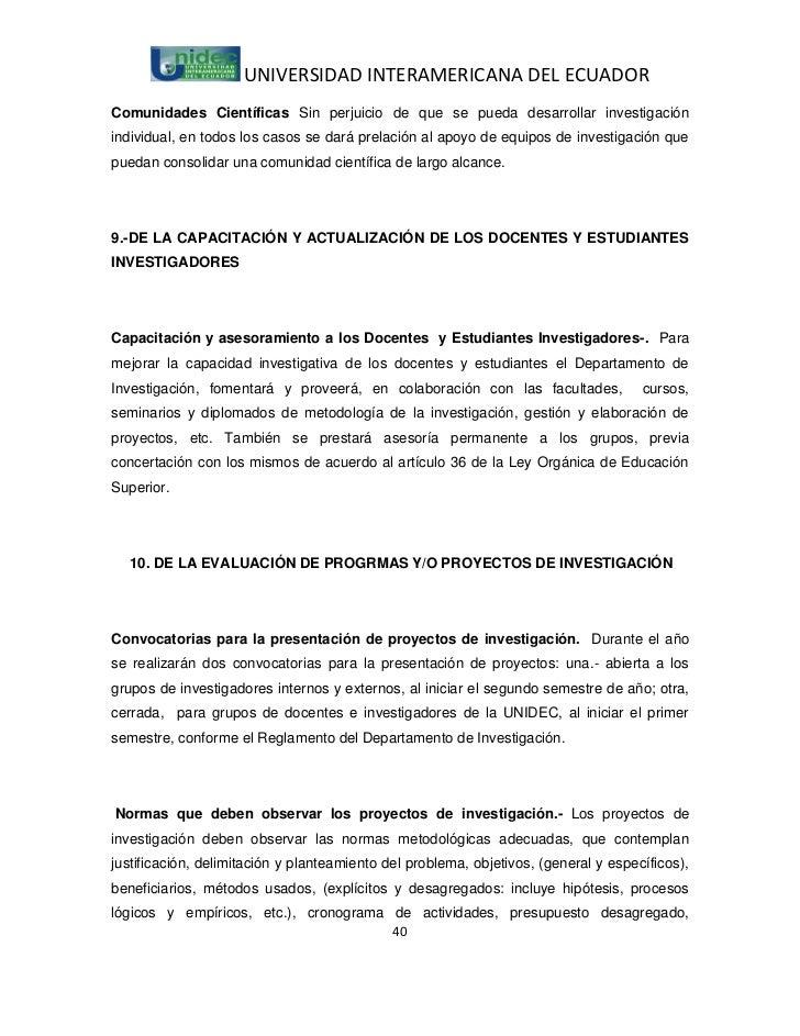 UNIVERSIDAD INTERAMERICANA DEL ECUADORComunidades Científicas Sin perjuicio de que se pueda desarrollar investigaciónindiv...