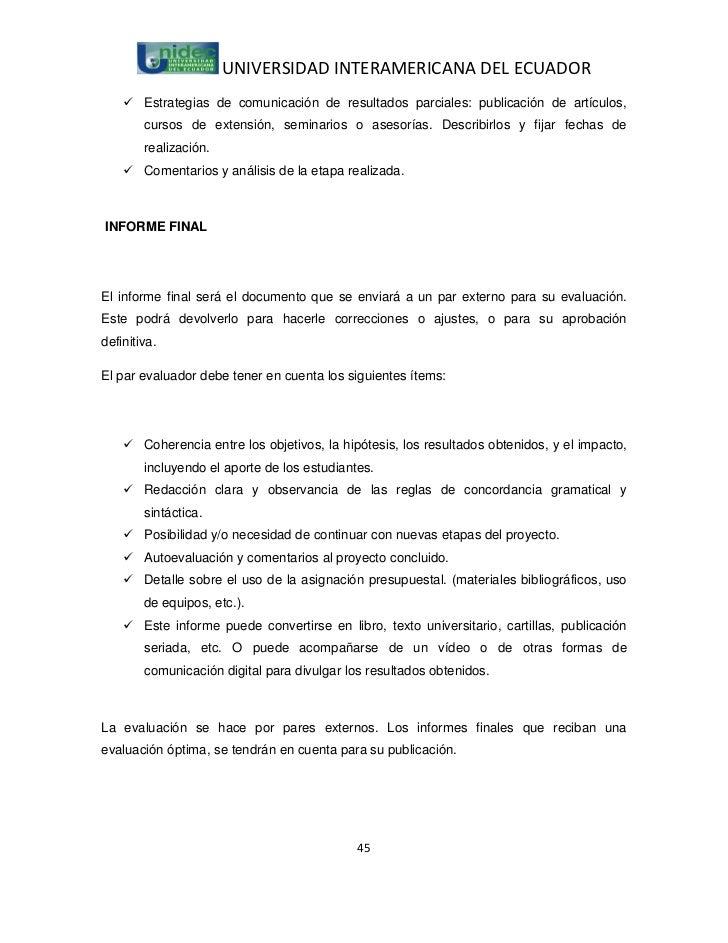 UNIVERSIDAD INTERAMERICANA DEL ECUADOR     Estrategias de comunicación de resultados parciales: publicación de artículos,...