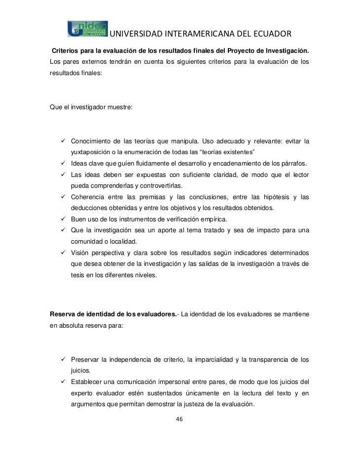 UNIVERSIDAD INTERAMERICANA DEL ECUADORCriterios para la evaluación de los resultados finales del Proyecto de Investigación...