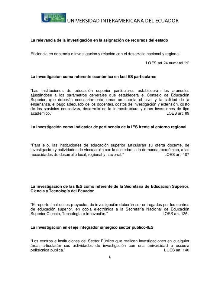 UNIVERSIDAD INTERAMERICANA DEL ECUADORLa relevancia de la investigación en la asignación de recursos del estadoEficiencia ...